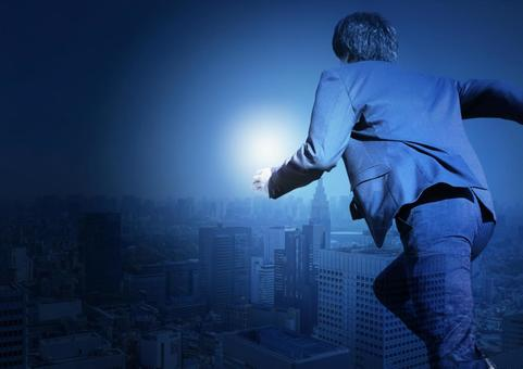 Running businessman and city image composition