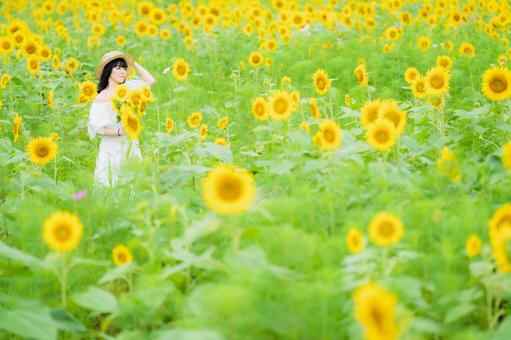 A woman in a sunflower field and a smiling white one-piece