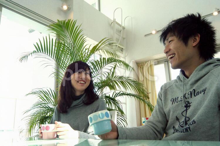 カフェでデートの写真