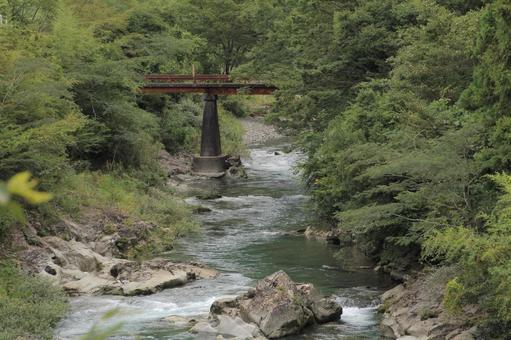 고치 현 강과 붉은 녹슨 다리