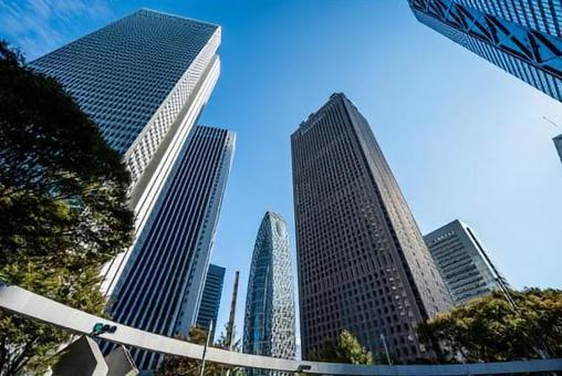 Tokyo Shinjuku building and blue sky