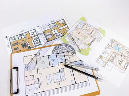 Residential design floor plan Protractor and set square
