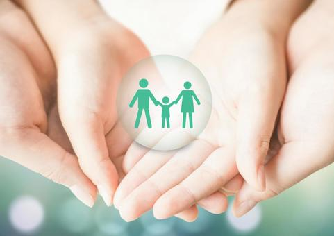 Family image supported by parents and children