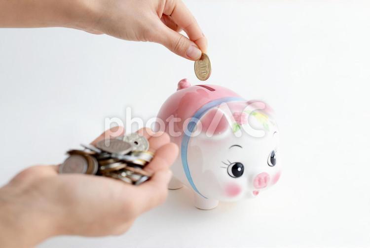 豚の貯金箱と硬貨の写真