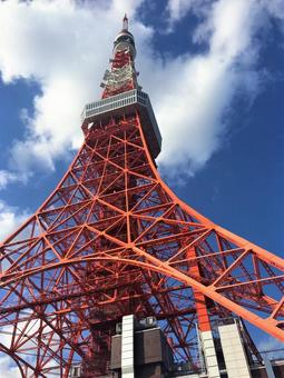 Tokyo Tower in the blue sky