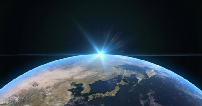 The moment when the rays of light shining on the Japanese archipelago and the earth fall