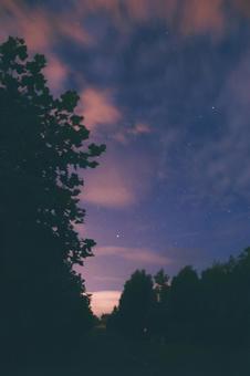 Dusk and starry sky