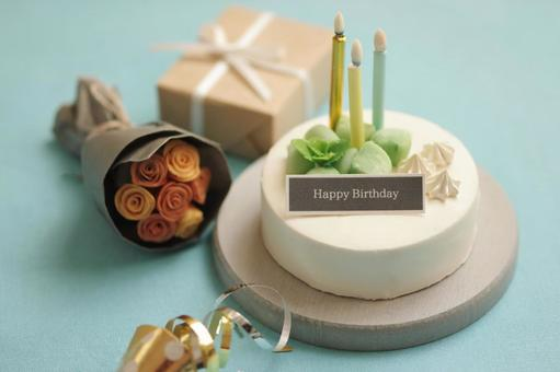 Summer birthday cake miniature
