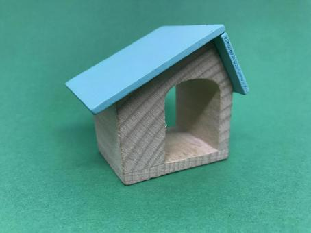 Wooden toy house, house image (green background)