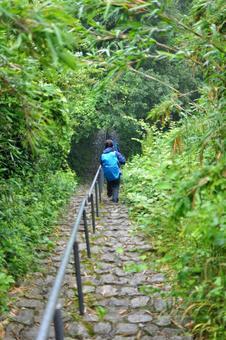 Ishimichi slump rain mountain trail hiker