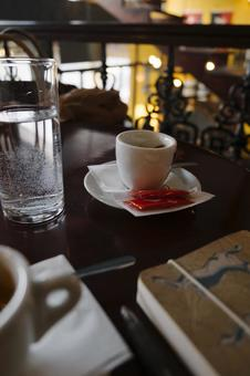 Coffee and water at a coffee shop
