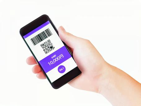 Hands of cashless payments / Contactless payments / Electronic money payments / qr code payments / Bar code payments / Mobile phones / Smartphones / Accessories / Miscellaneous goods / Purple