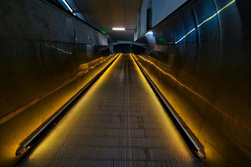 Flat escalator in shopping mall