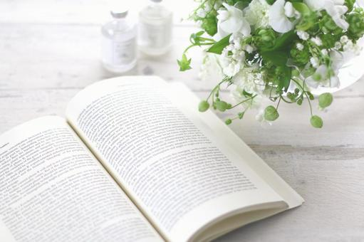 Foreign books and white flowers