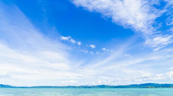 Okinawa's wide blue sky and beautiful sea 01 (deep blue, no sand)