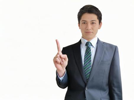 Man pointing to business point-white background