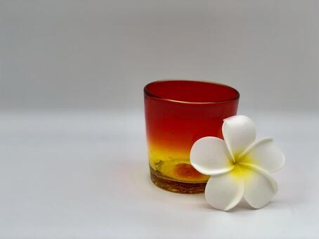 Glass glass plumeria