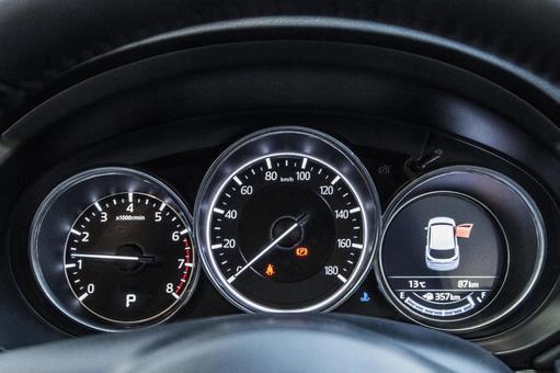 一辆车的图片(MAZDA New CX  -  5)。豪华车速表漂移的令人印象深刻的形象。