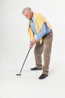 Foreigner golfing older man 1