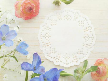 Lace paper and floral background frame