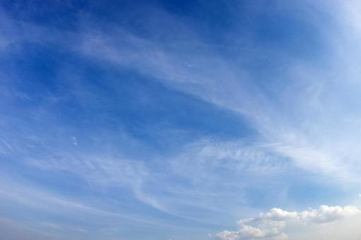 Spring sky and thin clouds