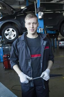 Automobile mechanic with spanner 9