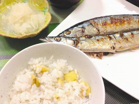 Autumn taste saury and chestnut rice