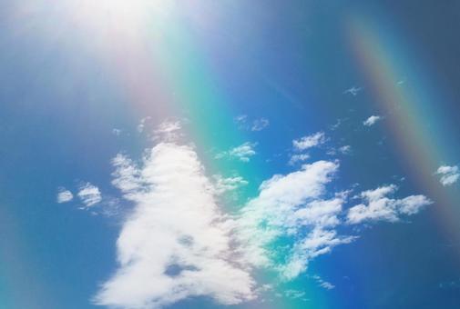 Beautiful sky blue blue sky rainbow shine sun