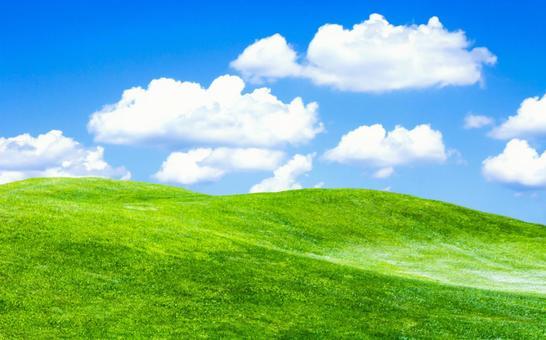 녹색 언덕과 푸른 하늘