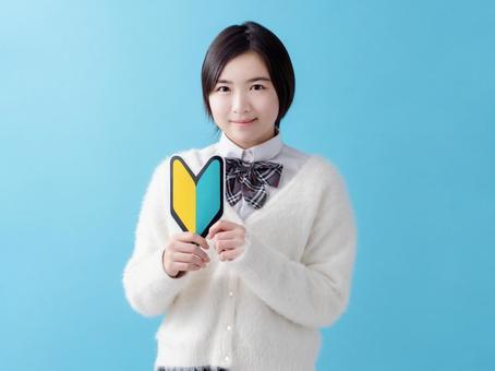 Image of beginner mark and high school girl