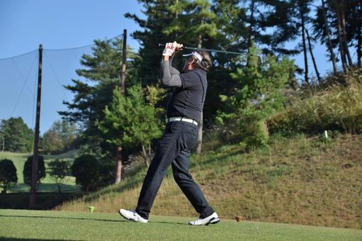 Tee shot of golf Meiji gun