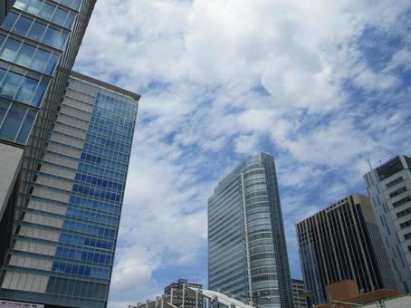 Business district buildings