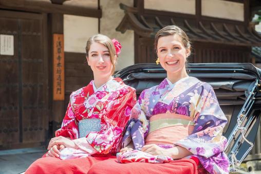Women's Yukata rode rickshaw women Foreign tourists 12