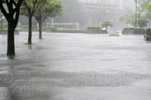 A city with heavy rain