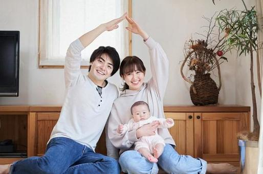 Asian family posing home