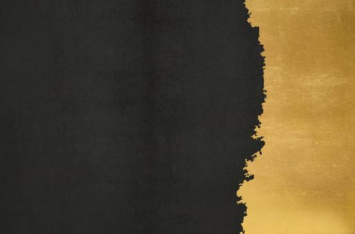 Black concrete and gold leaf art texture_black Japanese grunge background
