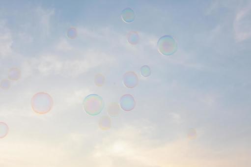 Soap bubbles fly
