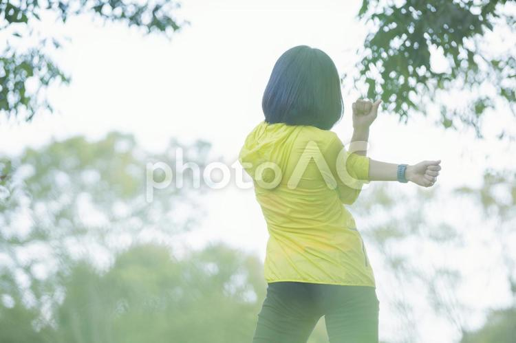 公園で運動をする女性の写真
