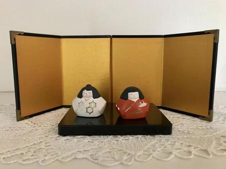 Mini Hina Doll Gold Folding Screen