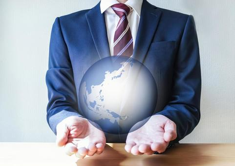 Businessmen and World Map Global