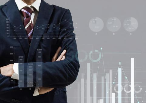Graph image with a businessman who crosses his arms