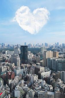 Tokyo and heart clouds