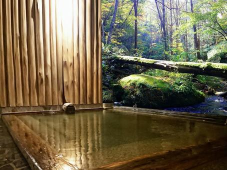 Open-air bath in the forest