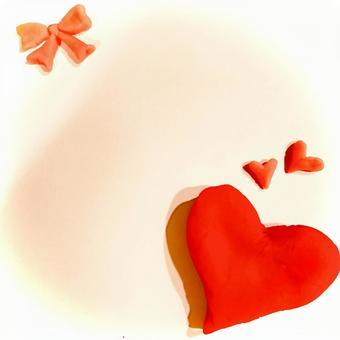 Heart and ribbon clay making