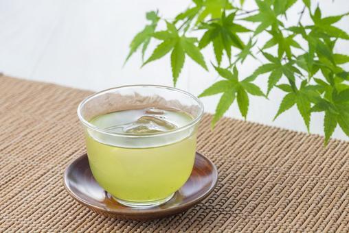 Cold green tea stock photos