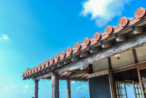 Okinawa red tile and blue sky