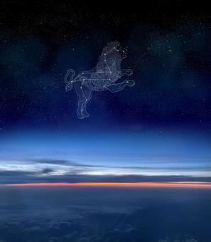 漂浮在夜空中的獅子座(星座圖)