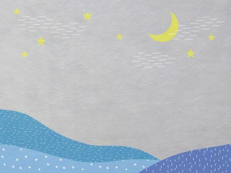 Japanese paper of night sky, moon and mountain scenery_blue modern Japanese pattern texture_background material