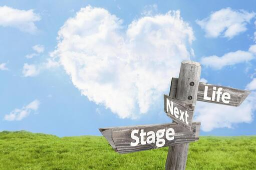 A guidepost indicating the heart cloud, the meadow and the life stage