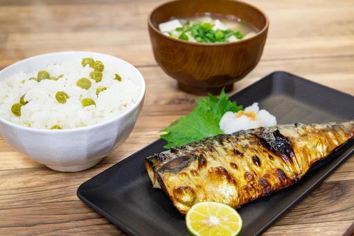Salt mackerel set meal